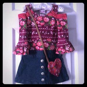 Nannette burgundy pink dress w/ denim bottom 3T